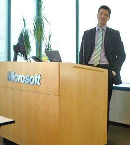Joseph Warren speaking at Microsoft in Tampa.